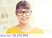 Купить «happy asian young woman in glasses at home», фото № 28310954, снято 9 марта 2016 г. (c) Syda Productions / Фотобанк Лори
