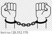 Купить «Handcuffs on the hands of the criminal», иллюстрация № 28312170 (c) Сергей Лаврентьев / Фотобанк Лори
