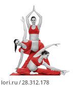 Купить «Беременная женщина в красном выполняет физические упражнения, изолировано на белом», фото № 28312178, снято 3 апреля 2018 г. (c) Владимир Мельников / Фотобанк Лори