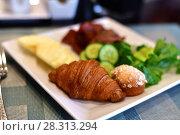 Купить «concept of breakfast for All Inclusive program at resort», фото № 28313294, снято 10 апреля 2018 г. (c) Володина Ольга / Фотобанк Лори