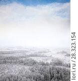 Купить «Snow windstorm in beginning winter, bird's eye view», фото № 28323154, снято 22 октября 2010 г. (c) Владимир Мельников / Фотобанк Лори
