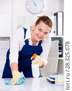 Купить «Happy housekeeper is cleaning dust from the desk», фото № 28325078, снято 9 июня 2017 г. (c) Яков Филимонов / Фотобанк Лори