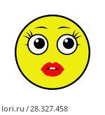 Купить «Sensual Smiley Girl on a White Background», иллюстрация № 28327458 (c) Сергей Лаврентьев / Фотобанк Лори