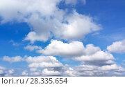 Купить «Summer blue sky with cumulus clouds. Heavenly landscape. Natural background», фото № 28335654, снято 9 сентября 2017 г. (c) Виктория Катьянова / Фотобанк Лори