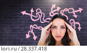 Купить «Stressed confused woman with pink arrow squiggly doodles on wall», фото № 28337418, снято 18 июля 2018 г. (c) Wavebreak Media / Фотобанк Лори
