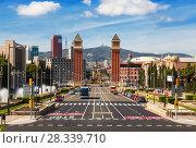 Купить «View of the Plaza de Espana. Catalonia, Spain», фото № 28339710, снято 5 апреля 2018 г. (c) Наталья Волкова / Фотобанк Лори