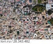 Купить «Aerial top view of Medina in Fes, Morocco», фото № 28343482, снято 16 февраля 2018 г. (c) Михаил Коханчиков / Фотобанк Лори