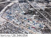 Купить «Vyngapurovsky is oilman's village in West Siberia, bird's eye view», фото № 28344054, снято 22 марта 2017 г. (c) Владимир Мельников / Фотобанк Лори