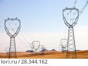Купить «Electricity pylons across Inner Mongolia, Northern China, March 2009.», фото № 28344162, снято 20 марта 2019 г. (c) Nature Picture Library / Фотобанк Лори