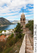 Montenegro. Kotor. The medieval Old Town Road leads to a beautiful 15th-century Church of Our Lady of Remedy (Crkva Gospa od Zdravlja) with a stone dome (UNESCO-protected) (2016 год). Стоковое фото, фотограф Виктория Катьянова / Фотобанк Лори