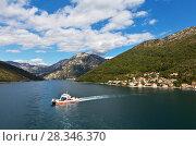 Купить «Montenegro. Beautiful view from above to Kotor Bay and regular passenger ferry from Lepetane to Kamenari by a sunny afternoon», фото № 28346370, снято 8 октября 2016 г. (c) Виктория Катьянова / Фотобанк Лори