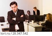 Купить «Irritated businessman in office», фото № 28347542, снято 24 марта 2018 г. (c) Яков Филимонов / Фотобанк Лори