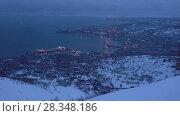 Купить «Ночной вид сверху на порт и город Петропавловск-Камчатский», видеоролик № 28348186, снято 28 апреля 2018 г. (c) А. А. Пирагис / Фотобанк Лори