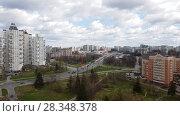 Купить «Moscow, Russia - April 29. 2018. General view of Zelenograd and Kryukovskaya overpass», видеоролик № 28348378, снято 29 апреля 2018 г. (c) Володина Ольга / Фотобанк Лори