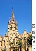 Купить «Sibiu, Transylvania, Romania. Lutheran Cathedral of Saint Mary / Evangelical Church (1300-1520, Gothic) in Piata Huet (square) 73. 34 m high steeple.», фото № 28354138, снято 16 июля 2007 г. (c) age Fotostock / Фотобанк Лори