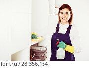 Купить «Female cleaner at work», фото № 28356154, снято 29 мая 2020 г. (c) Яков Филимонов / Фотобанк Лори