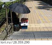 Купить «Пожилая женщина под зонтом продает свежую клубнику», фото № 28359290, снято 21 мая 2017 г. (c) Светлана Ельцова / Фотобанк Лори