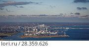 Купить «Aerial view of industrial Copenhagen, Denmark», фото № 28359626, снято 7 ноября 2016 г. (c) Stockphoto / Фотобанк Лори