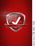 Купить «Correct tick quality icon with red background», фото № 28361102, снято 3 июля 2020 г. (c) Wavebreak Media / Фотобанк Лори