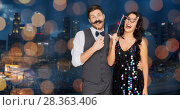 Купить «happy couple with party props having fun», фото № 28363406, снято 15 декабря 2017 г. (c) Syda Productions / Фотобанк Лори