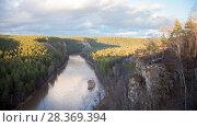 Купить «Fascinating view overlooking the mountain river and dense forest», фото № 28369394, снято 30 апреля 2018 г. (c) Константин Шишкин / Фотобанк Лори