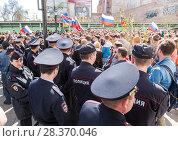 Купить «Opposition protest rally ahead of President Vladimir Putin's inauguration ceremony», фото № 28370046, снято 5 мая 2018 г. (c) FotograFF / Фотобанк Лори