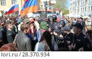 Купить «Opposition protest rally ahead of President Vladimir Putin's inauguration ceremony», видеоролик № 28370934, снято 5 мая 2018 г. (c) FotograFF / Фотобанк Лори