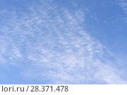 Купить «Blue sky background with clouds», фото № 28371478, снято 29 апреля 2018 г. (c) Ирина Носова / Фотобанк Лори