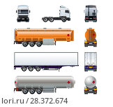 Купить «Realistic semi truck mockup set isolated on white», иллюстрация № 28372674 (c) Александр Володин / Фотобанк Лори