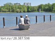 Купить «Москва. Две пожилые женщины отдыхают на пирсе около Большого Головинского пруда весной», эксклюзивное фото № 28387598, снято 7 мая 2018 г. (c) Илюхина Наталья / Фотобанк Лори