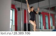 Купить «Young woman with attractive figure performing pole dance in a studio», видеоролик № 28389106, снято 18 августа 2019 г. (c) Константин Шишкин / Фотобанк Лори