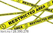 Купить «Restricted area. Yellow warning tapes», видеоролик № 28390278, снято 20 апреля 2018 г. (c) WalDeMarus / Фотобанк Лори