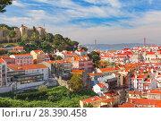 Historical centre of Lisbon on sunny day, Portugal. Стоковое фото, фотограф Коваленкова Ольга / Фотобанк Лори