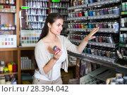 Купить «female customer in art department», фото № 28394042, снято 20 февраля 2020 г. (c) Яков Филимонов / Фотобанк Лори