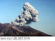 Купить «Извергающийся из кратера вулкана Сакурадзима столп пепла», фото № 28397514, снято 17 апреля 2010 г. (c) Александр Гаценко / Фотобанк Лори