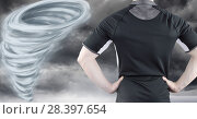 Купить «Tornado twister painted and dark sky with sport fitness man», фото № 28397654, снято 27 мая 2020 г. (c) Wavebreak Media / Фотобанк Лори