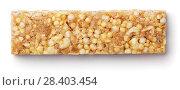 Купить «Granola bar (muesli or cereal bar) isolated on white», фото № 28403454, снято 6 мая 2018 г. (c) Роман Самохин / Фотобанк Лори