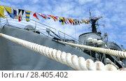 Signal flags on the warship. Стоковое видео, видеограф Александр Устич / Фотобанк Лори