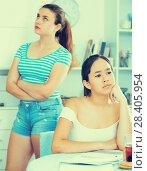 Купить «Offended teens girls after quarrel», фото № 28405954, снято 7 июня 2017 г. (c) Яков Филимонов / Фотобанк Лори