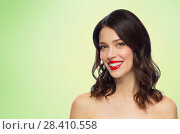 Купить «beautiful smiling young woman with red lipstick», фото № 28410558, снято 5 января 2018 г. (c) Syda Productions / Фотобанк Лори