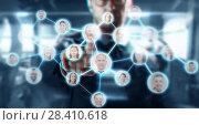 Купить «businessman working with network contacts icons», фото № 28410618, снято 6 сентября 2016 г. (c) Syda Productions / Фотобанк Лори