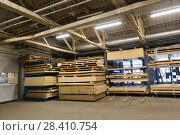 Купить «boards storing at woodworking factory warehouse», фото № 28410754, снято 10 ноября 2017 г. (c) Syda Productions / Фотобанк Лори