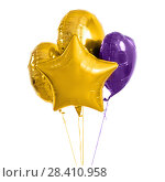 Купить «close up of helium balloons over white background», фото № 28410958, снято 6 марта 2018 г. (c) Syda Productions / Фотобанк Лори