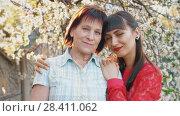 Купить «Adult daughter hugging her senior mother», видеоролик № 28411062, снято 2 мая 2018 г. (c) Илья Шаматура / Фотобанк Лори