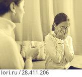 Купить «Mother reprimands her daughter», фото № 28411206, снято 26 марта 2019 г. (c) Яков Филимонов / Фотобанк Лори