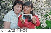 Купить «Daughter her mother take photo», видеоролик № 28419658, снято 2 мая 2018 г. (c) Илья Шаматура / Фотобанк Лори