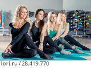 Купить «slender beautiful girls in the gym posing during training», фото № 28419770, снято 29 января 2018 г. (c) Константин Лабунский / Фотобанк Лори