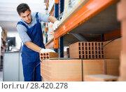 Купить «sellerman is calculating bricks before selling», фото № 28420278, снято 26 июля 2017 г. (c) Яков Филимонов / Фотобанк Лори