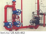 Купить «Heating system in boiler room», фото № 28420462, снято 20 ноября 2017 г. (c) Яков Филимонов / Фотобанк Лори