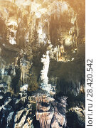 Купить «Picture of cave Grotte des Demoiselles illuminated inside», фото № 28420542, снято 2 декабря 2017 г. (c) Яков Филимонов / Фотобанк Лори